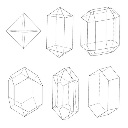 veiled: Precious stones outlines and back dotted lines. Good technical illustration or design element.