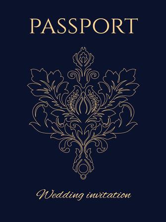 Bruiloft uitnodiging paspoort, een kopie van de officiële USA paspoort met een bloem ornament in plaats van de Amerikaanse adelaar zeehond.