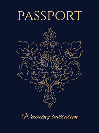 Wedding invitation passport, a copy of official USA passport with a flower ornament instead of US eagle seal.