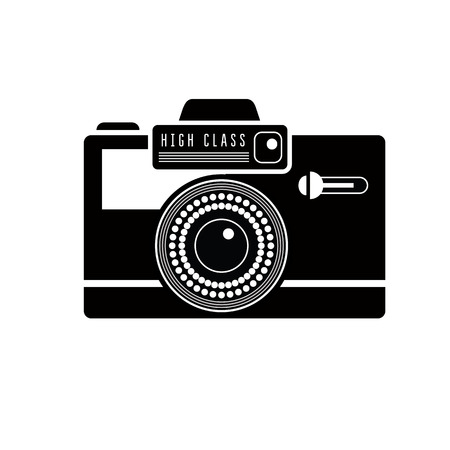 complex system: Black camera icon on white. Stylish lineart illustration