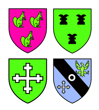 cross and eagle: Authentic medieval heraldry shields from Britain.