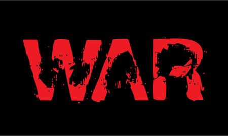 caption: War caption red on black.  Illustration