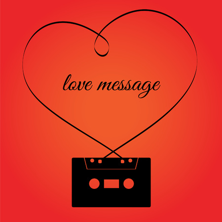 hi fi: Audio retro cassette with heart shape tape above. Love message, valentine day, romantic emotion, on red background.