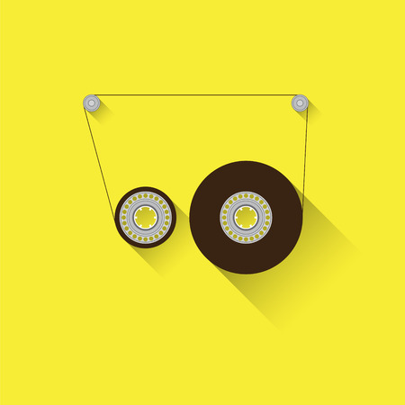 compact cassette: Recordable babin of tape cassette. Flat design sign,  isolated on yellow background. Compact cassette stripped off its shell, showing babin reels. Illustration