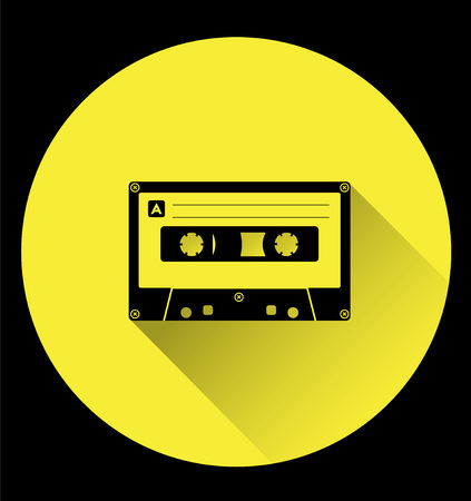 analogue: Plastic audio cassette tape. Web icon. Old technology, retro style, flat theme design,  isolated on yellow background