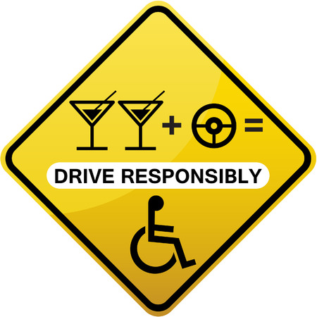 responsibly: Drive responsibly road sign yellow diamond shape. No drinking while driving caution.