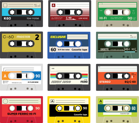 hi fi system: Collection of retro plastic audio cassettes, music cassettes, cassette tapes. Isolated on white background. Realistic illustration of old technology. Vintage tapes.