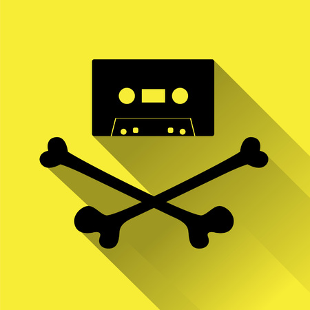 cassette tape: Tape cassette with crossbones. Copyright piracy concept. Flat style icon for web. On yellow background.