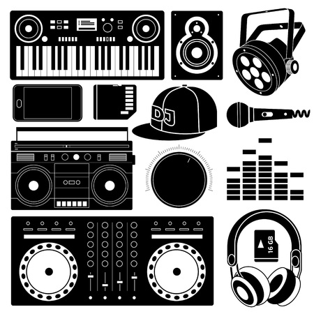 club dj: DJ sound equipment black icons, playing and tuning, lighting, sound speaker and ear phones. Illustration