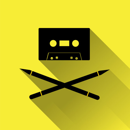 piracy: Tape cassette with pens as crossbones. Copyright piracy concept. Flat style icon for web. On yellow background. Illustration