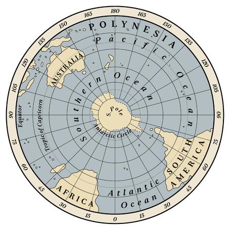 Southern Hemisphere detailed illustration