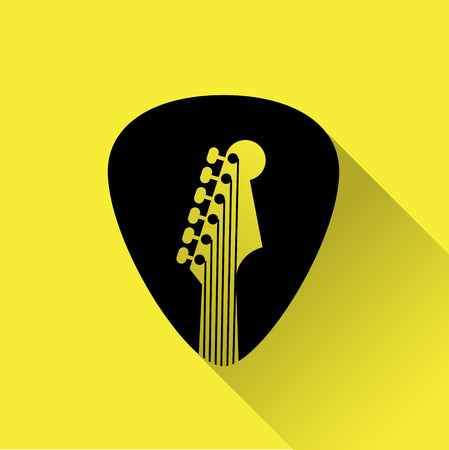 Guitar Pick flat design icon for web, black on yellow with shadow.