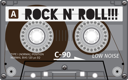 hi fi: Vintage transparent plastic tape cassette. Yellow audio cassette tape with text - rock and roll. Retro technological, realistic design. Illustration isolated on white background.