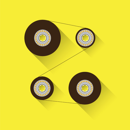 recordable: Recordable tape cassette babin. Flat design, isolated on yellow background. Compact cassette illustration.