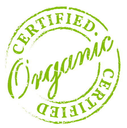 Green organic certified stamp. Eco product symbol, disstressed natural rubber stamp on white background. Sign of product fresh and healthy nature. Vettoriali