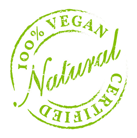 certified: Green 100% Vegan All Natural Icon, Sticker, Badge. Eco product symbol, disstressed natural rubber stamp on white background. Sign of product fresh and healthy nature.