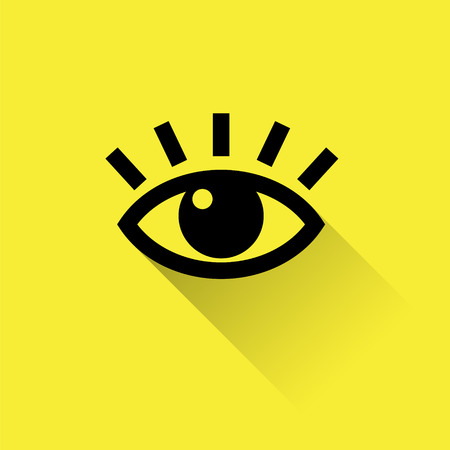 on the lookout: Human eye icon for web, flat design on yellow background.