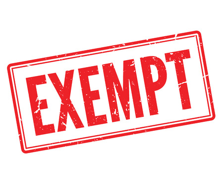 exempt: Exempt red rubber stamp on white. Print, impress, overprint.