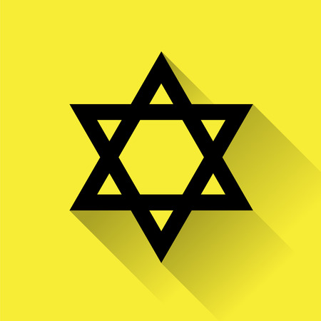 hannukah: Star of David icon for web, flat design on yellow background.