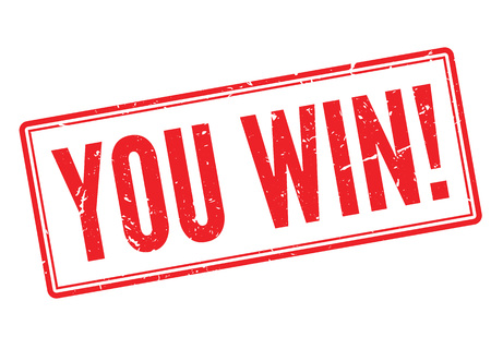 You win! red rubber stamp on white. Print, impress, overprint. Illustration