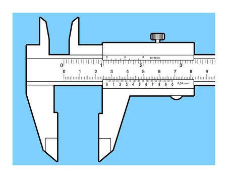 sliding caliper: Vernier caliper tool isolated on white. Sliding caliper illustration.