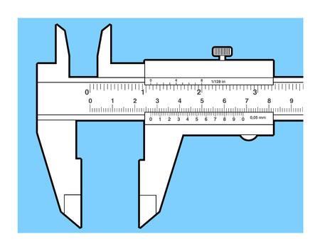 sliding scale: Vernier caliper tool isolated on white. Sliding caliper illustration.