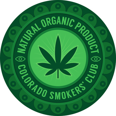 smokers: Colorado smokers club emblem green on white. Natural organic product symbol.