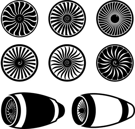 turbojet: Airplane jet engine turbines icons, black on white, silhouettes.