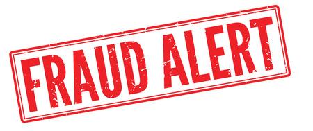 robbed: Fraud Alert red rubber stamp on white. Print, impress, overprint.