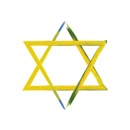 chanuka: Star of David sign on white, yellow and blue