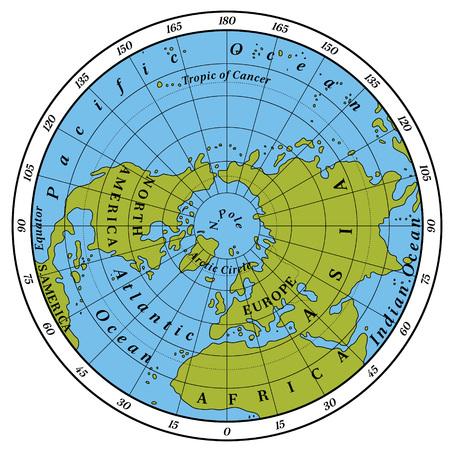 detailed: Northern Hemisphere detailed illustration