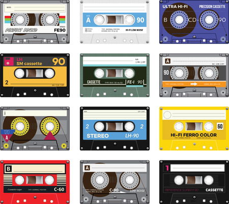 sound box: Retro plastic audio cassette, music cassette, cassette tape. Isolated on white background. Realistic illustration of old technology. Vintage tape.