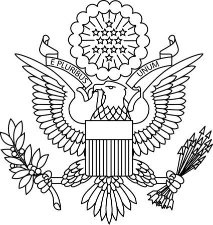 US passport seal on white background image.