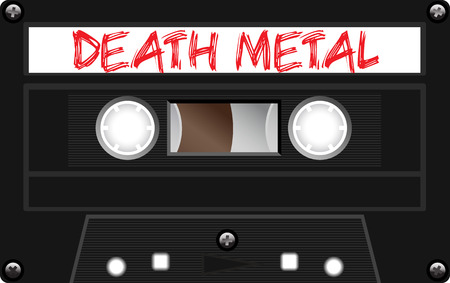 analogical: Vintage plastic tape cassette. Audio cassette tape with text - Death Metal. Retro technological, realistic design. Illustration isolated on white background. Illustration