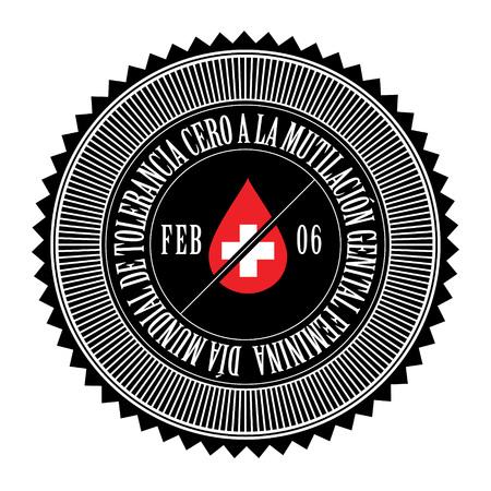 tolerancia: D�a Internacional de la Tolerancia Cero de La Mutilaci�n Genital Femenina, sello, logotipo Vectores