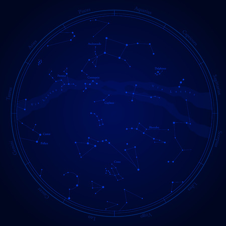 costellazioni: Zodiac star map with constellations, isolated on white. Milky way and stars.