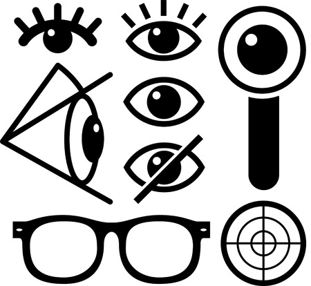 on the lookout: Human eye icons black on white, lens, eyewear, survaillance. Illustration