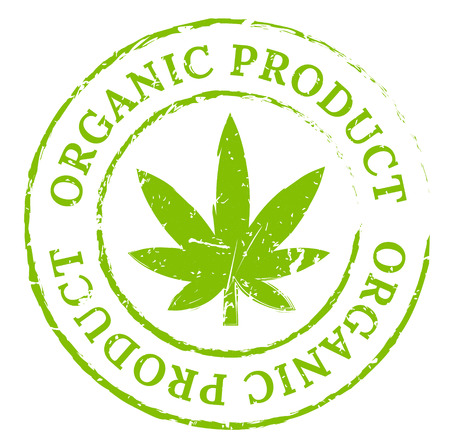 Green organic cannabis marijuana stamp. Cannabis product symbol, disstressed natural rubber stamp on white background. Sign of fresh and natural pot smoker's pleasure. Illustration