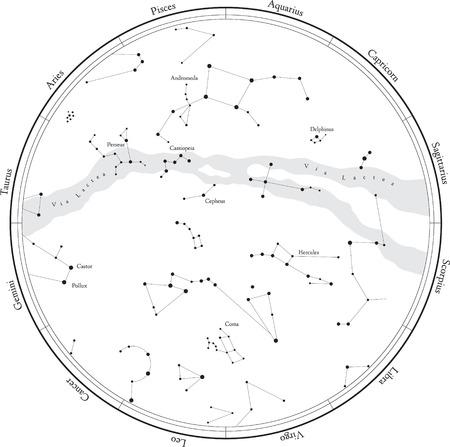 조디악 별자리지도에 흰색 격리 별자리. 은하수와 별.