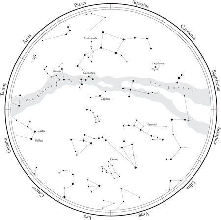 star map: Zodiac star map with constellations, isolated on white. Milky way and stars.
