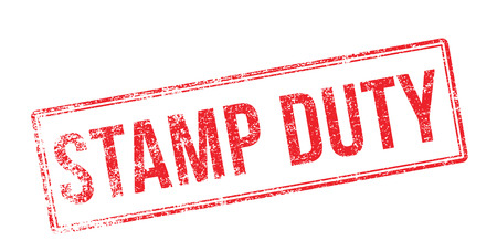 deeds: Stamp Duty red rubber stamp on white. Print, impress, overprint.
