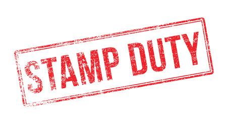 Stamp Duty tampon en caoutchouc rouge sur fond blanc. Imprimer, impressionner, overprint.
