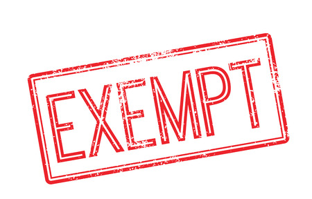 Exempt red rubber stamp on white. Print, impress, overprint.