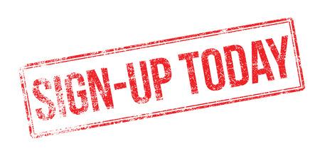 settle: Sign-up Today red rubber stamp on white. Print, impress, overprint. Illustration