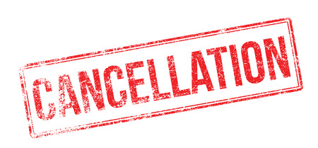 Cancellation red rubber stamp on white. Print, impress, overprint. Ilustração