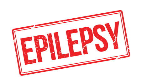 impress: Epilepsy red rubber stamp on white. Print, impress, overprint.