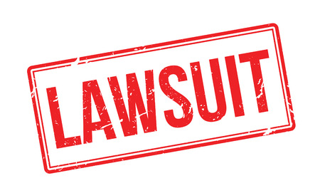 prosecute: Lawsuit red rubber stamp on white. Print, impress, overprint. Illustration
