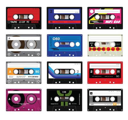 レトロ プラスチック カセット、音楽カセット、カセット テープ。白い背景上に分離。古い技術の現実的なイラスト。ビンテージ テープ。  イラスト・ベクター素材