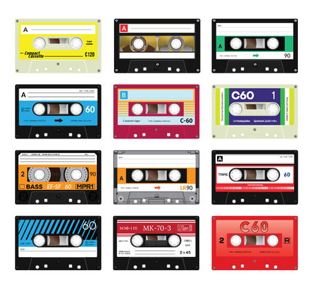 single songs: Retro plastic audio cassette, music cassette, cassette tape. Isolated on white background. Realistic illustration of old technology. Vintage tape. Signage in German Unrecorded. Made by German specialists, signage in Russian meaning model number, price,