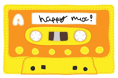 analogical: Retro knitted soft audio cassette tape. Stylized to look handmade, knitted by hand. Realistic illustration of a cassette made with soft material. Vintage tape.